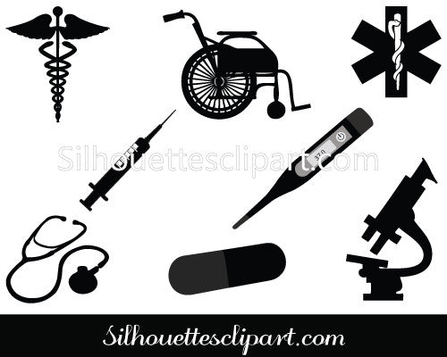 Medical Silhouette Vector Graphics Pack