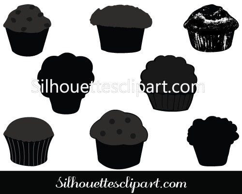 Muffin Silhouette Vector Graphics