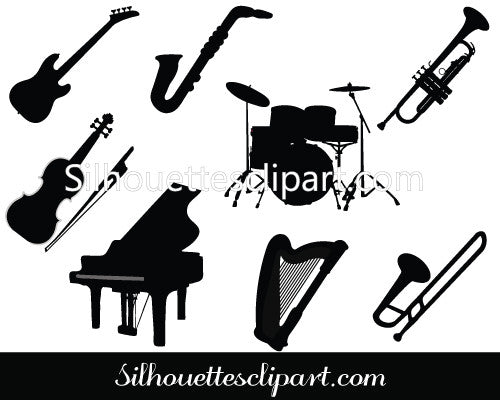 Music Instruments Silhouette Vector Graphics Pack