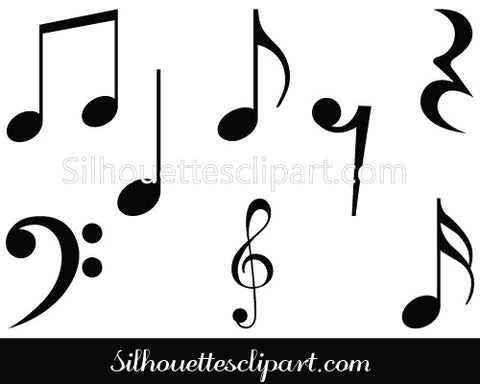Music Notes Symbols Silhouette Clipart