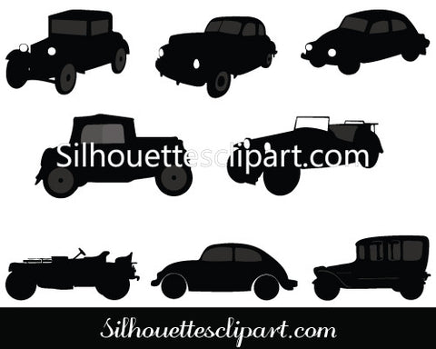 Old Car Silhouette Vector Graphics