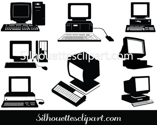 Old Computers Silhouette Clip Art Pack