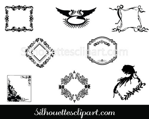 Vintage Ornamental Banners Silhouette Vector