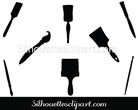 Paintbrush Silhouette Vector Graphics