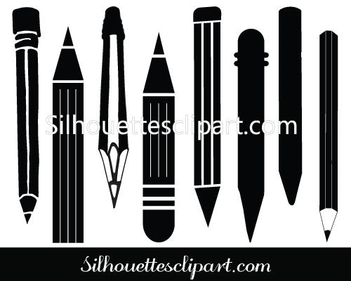 Pencil Silhouette Clip Art Pack Download Pencil Vectors