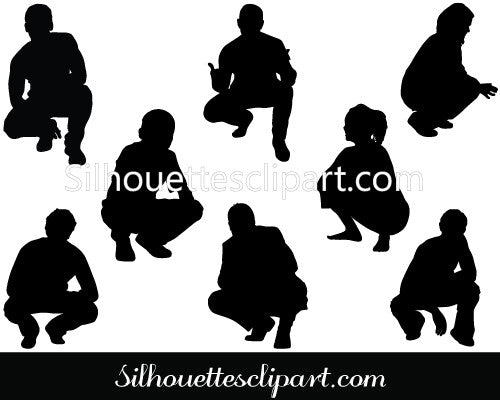 People Squatting Silhouette