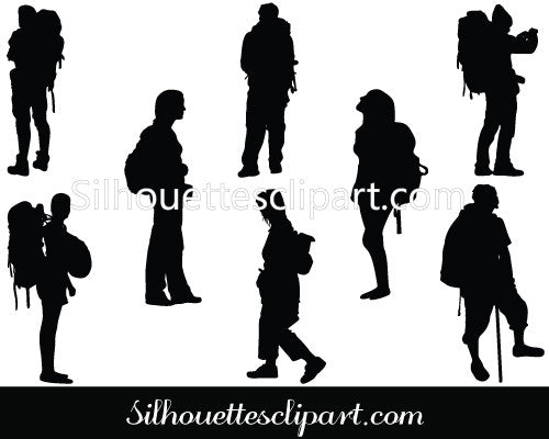 People with Backpack Silhouette