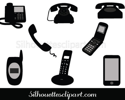 Phone Silhouette Vector Graphics Pack