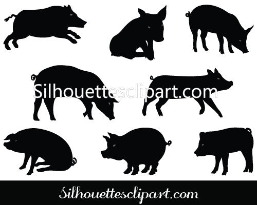 Pig Silhouette Vector Graphics Pack