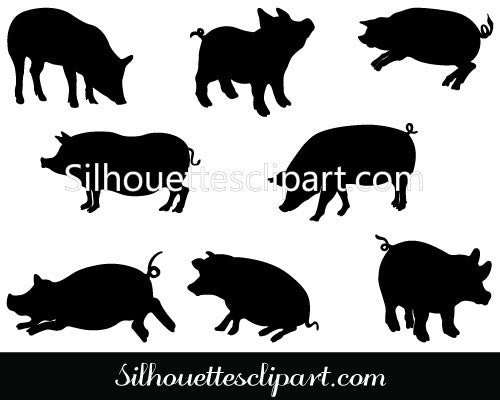 Pigs Silhouette Clip Art Pack Template