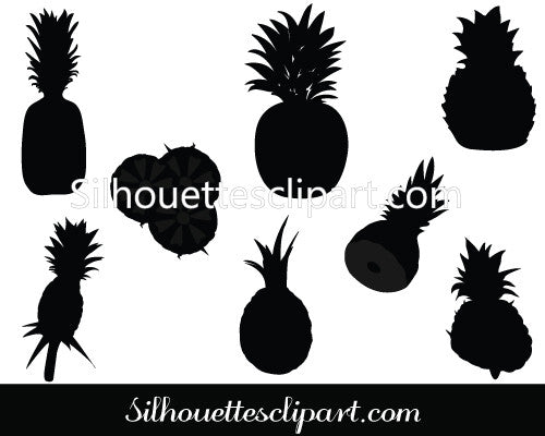 Pineapple Silhouette Vector Graphics