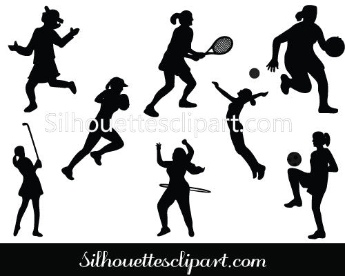 Play Girl Silhouette Vector Graphics Pack