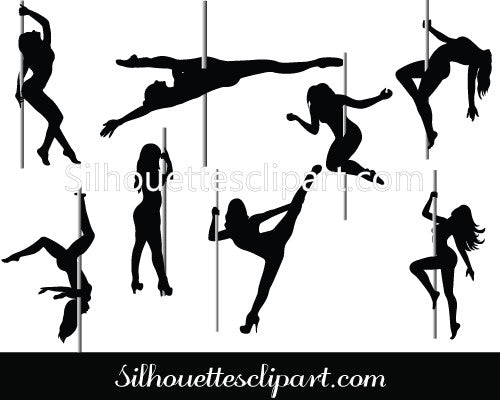 Pole Dancer Silhouette Vector Graphics Pack