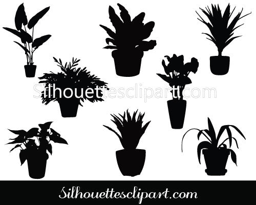 Potted Plants Silhouette Vector Clip Art