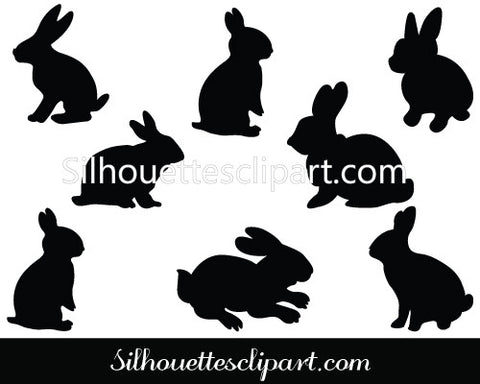 Rabbit Silhouette Clip Art Pack