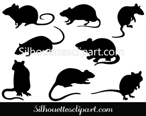 Rat Silhouette Clip Art Pack Template