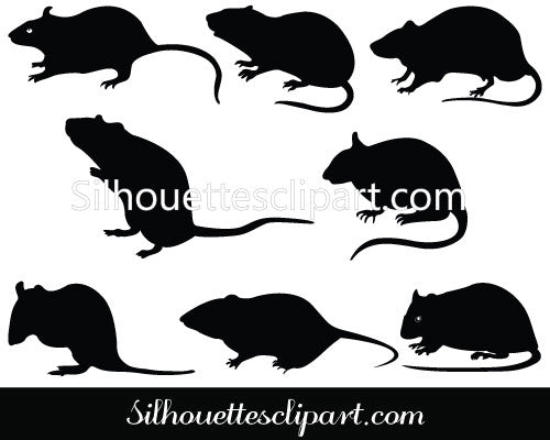 Rat Silhouette Clip Art Pack
