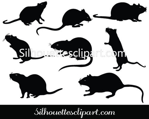 Rat Silhouette Vector Graphics Pack