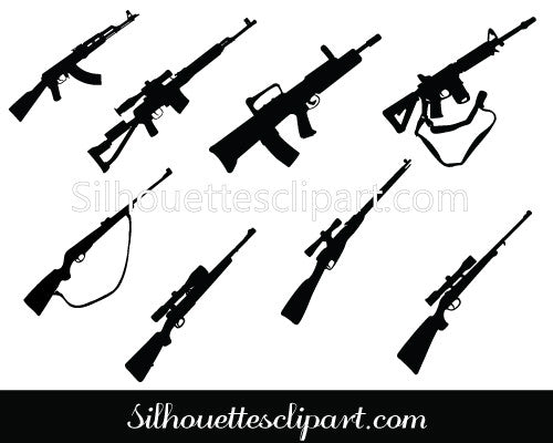 Rifle Silhouette Vector Graphics