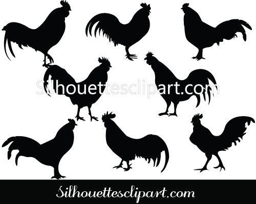 Chicken Rooster Silhouette Clip art Pack