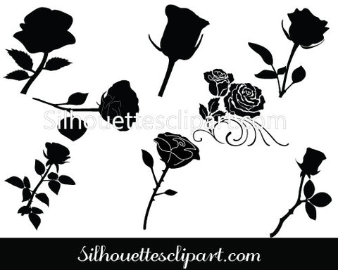 Rose Flower Silhouette Vector Pack