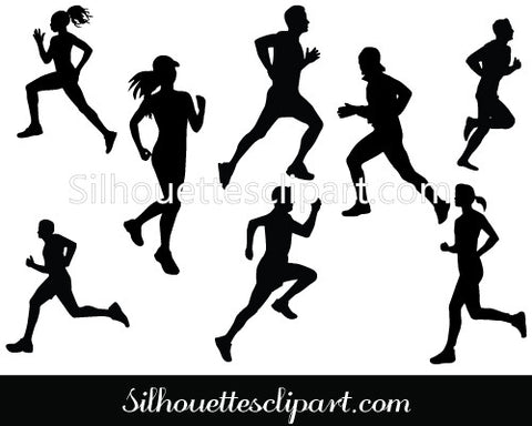 Marathon Running Silhouette Vector Graphics