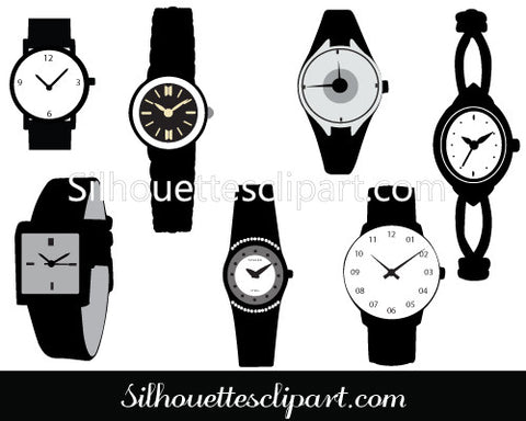 Watch Silhouette Vector Fashion Wristwatches Graphics