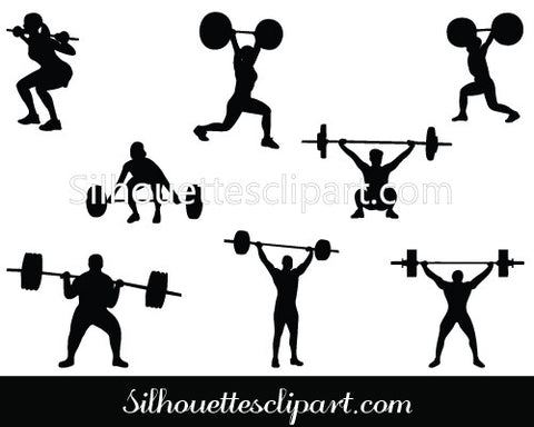 Weight Lifting Silhouette Vector Graphics