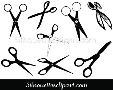 Scissors Silhouette Clip Art Pack