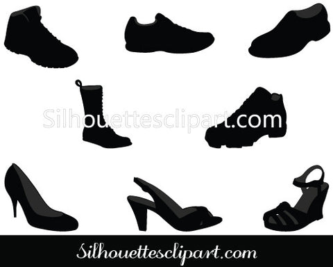 Shoe Silhouette Vector Graphics Pack