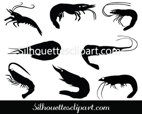 Shrimp Silhouette Vector Pack