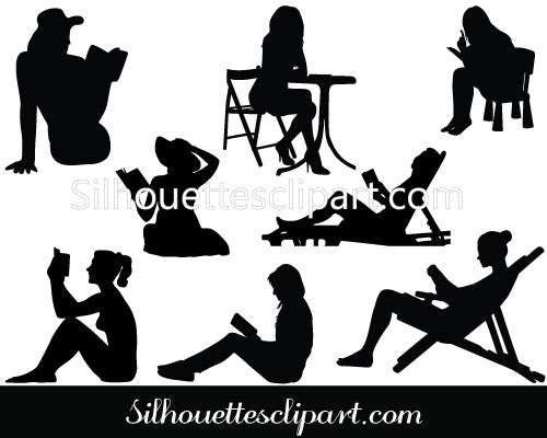 Silhouette of Women Reading Books