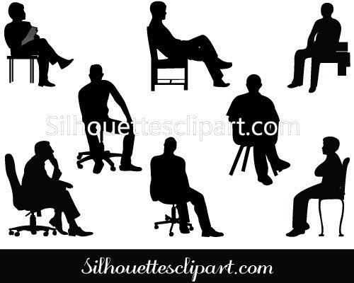 Sitting Silhouette of Business Executives