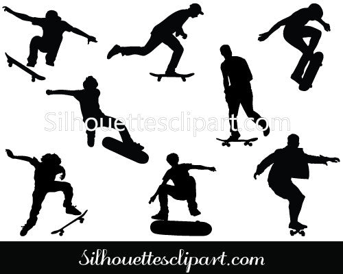 Skateboard Silhouette Vector Graphics