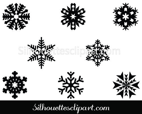 Snowflake Silhouette Clip Art Pack