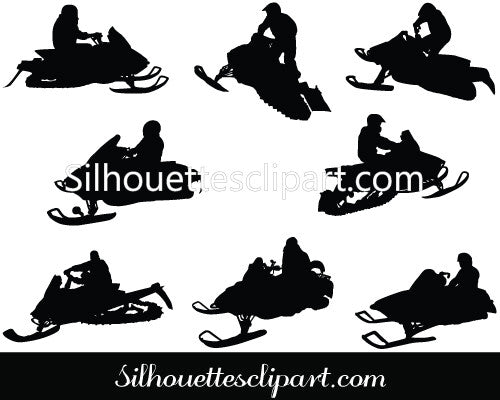 Snowmobiling Riding Silhouette
