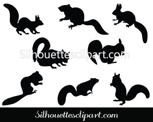 Squirrel Silhouette Clip Art Pack