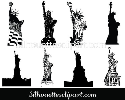Statue of Liberty Silhouette Clip Art pack