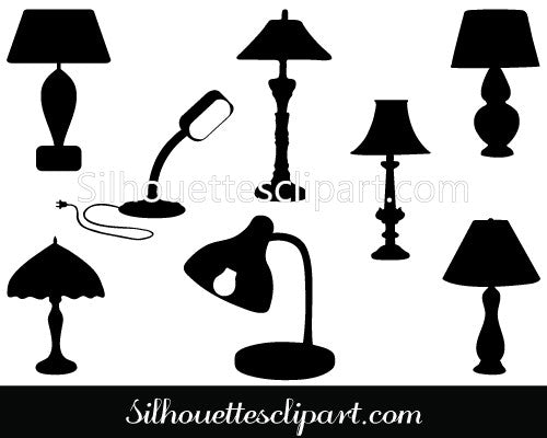 Table Lamp Silhouette Vector Graphics Pack