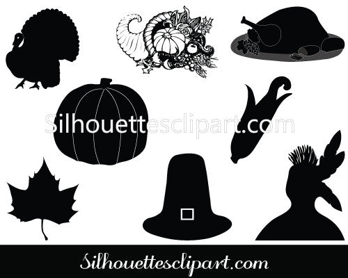 Thanksgiving Silhouette Vector Graphics Pack