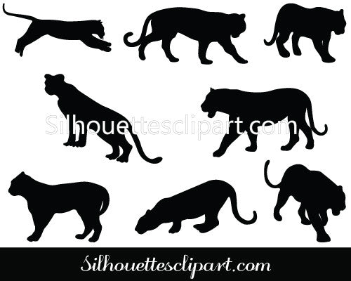 Tiger Silhouette Vector Graphics Pack