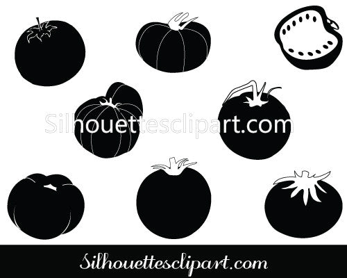 Tomato Silhouette Vector Graphics Pack