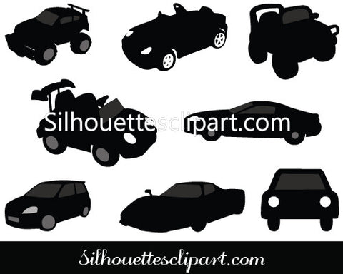 Toy Car Silhouette Vector Graphics