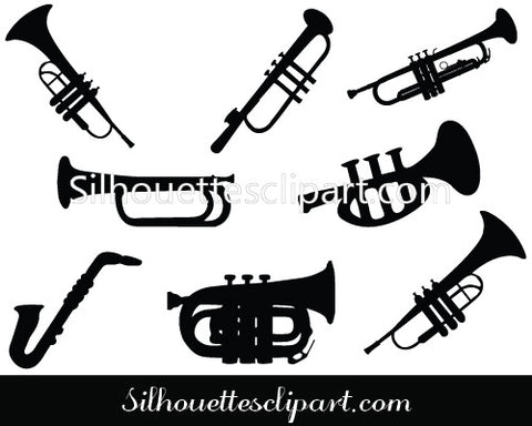 Trumpet Silhouette Vector Clipart