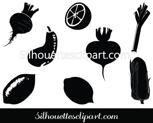 Vegetable Silhouette Clip Art Pack