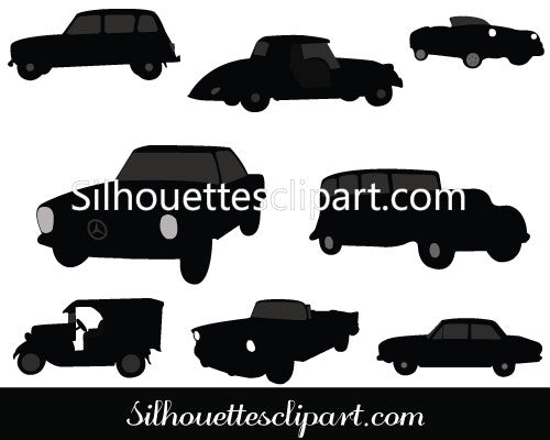 Vintage Classic Cars Silhouette Vector Graphics