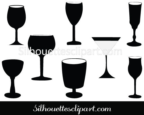 Wineglass Silhouette Vector Graphics