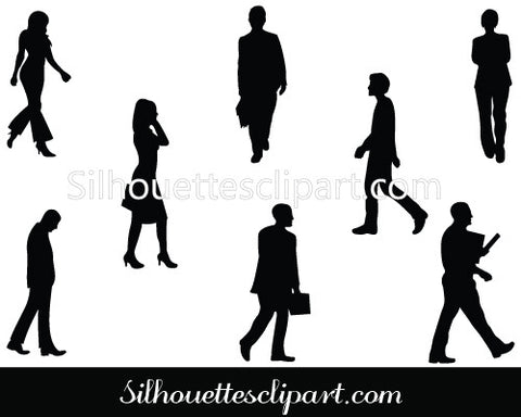 Walking Silhouette Vector Graphics