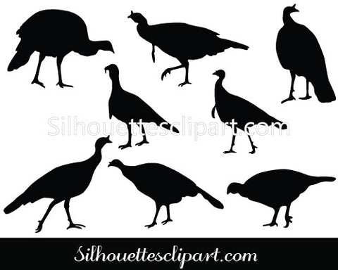Wild Turkey Silhouette Vector