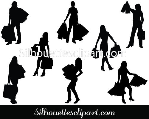 Women Shopping Silhouettes